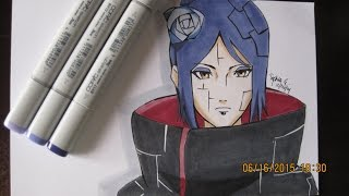 【Naruto Shippuden】- Drawing and Coloring Konan コナン