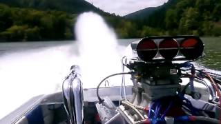 Rick Williams jet boat pulling some g's