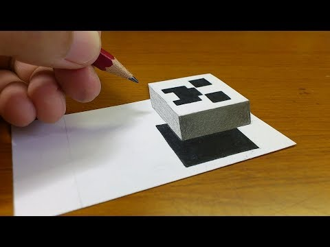 Very Easy!! How To Draw 3D Floating CREEPER(MINECRAFT)- 3D Trick Art on paper step by step