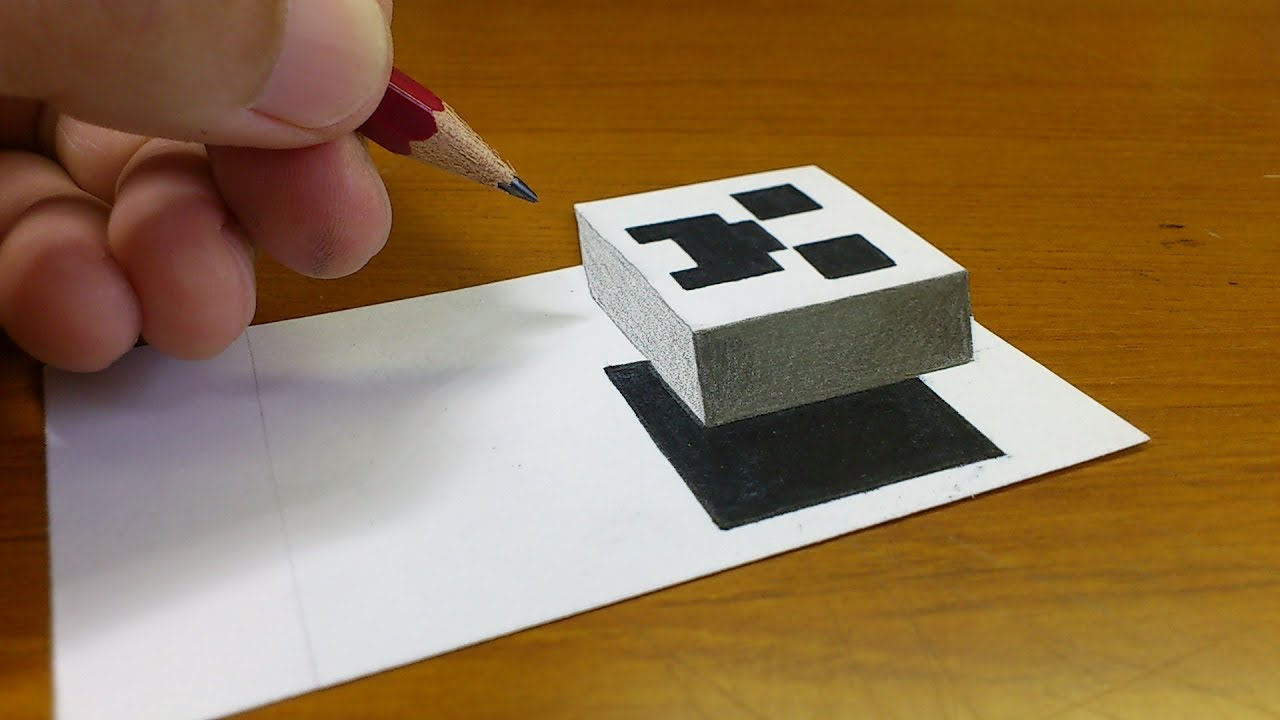 Very Easy How To Draw 3d Floating Creeper Minecraft 3d