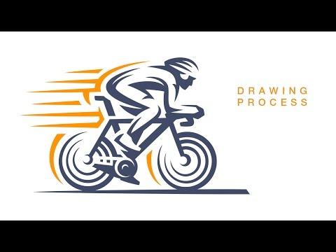Отрисовка логотипа. Велогонка. Logo drawing process