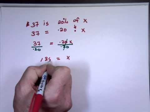 Solving Equations Involving Percent