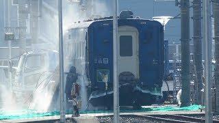 【東武 SL2両目 元江若鉄道 C11-1譲渡 南栗橋到着!】元寝台急行 はまなす オハ14-505(ドリームカー)屋外で塗装はがし作業確認 客車も復活させるか?