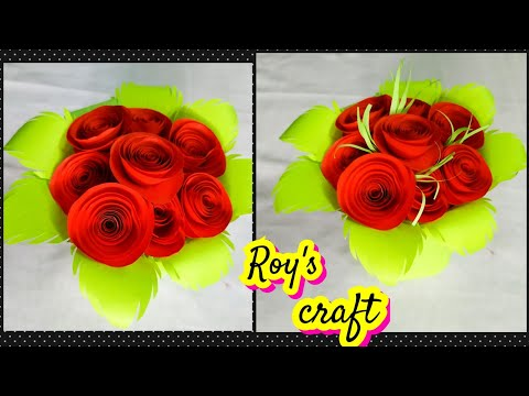 how to make paper flower bouquet/DIY paper craft/Easy paper flower bouquet.