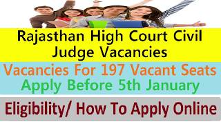 Rajasthan High Court Civil Judge Recruitment Apply Online