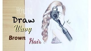 how to draw and colour wavy brown hair (kristina webb inspired) || ehitsami