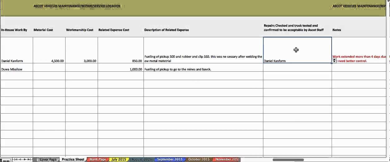 vehicle maintenance logbook session - YouTube