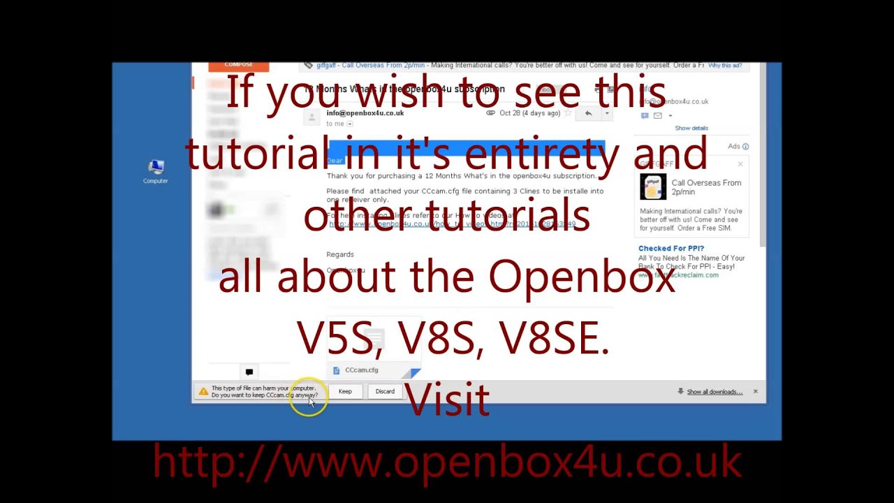 How To Install CLines (CCcam cfg file) On The Openbox V8S