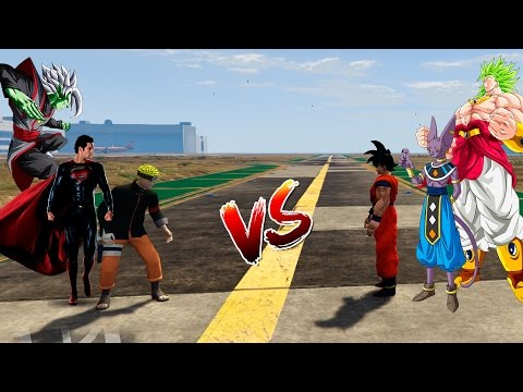 EQUIPO GOKU VS EQUIPO NARUTO   BATALLA TRIPLE GTA 5 MODS   CROCO