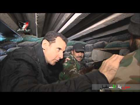 Syrian President Bashar al-Assad visites army at the fire lines of Jobar, East of Damascus