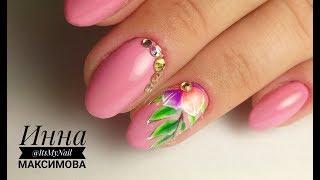 🌸 КРАСОТА на ногтях 🌸 ЯРКИЙ ЛЕТНИЙ маникюр 🌸 ЦВЕТОК и ВЕТОЧКА на ногтях 🌸 Дизайн ногтей гель лаком 🌸
