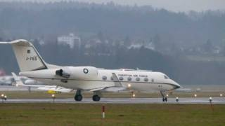 Pakistan Air Force Gulfstream IV take-off @ Zurich Airport - 28/01/2012