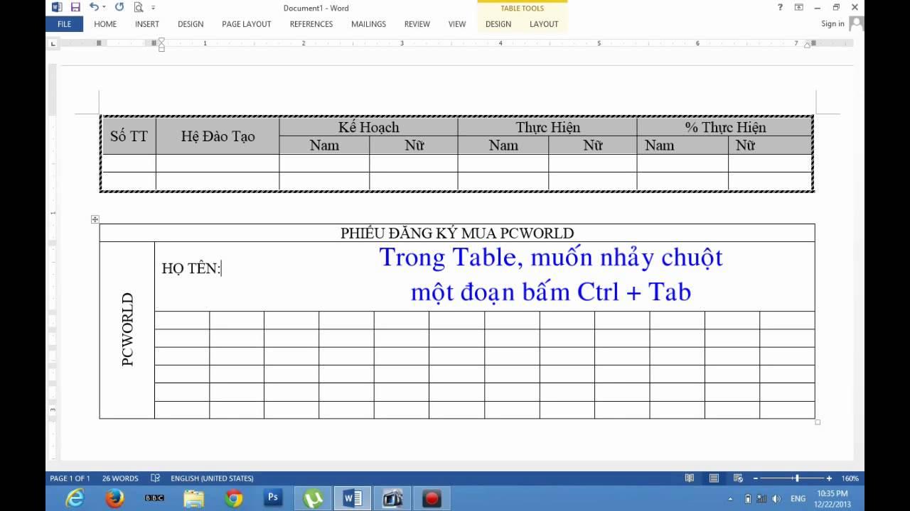 Word 2013 & Word 2016 - Cách Tạo Bảng (Table) Và Xử Lý Bảng Biểu