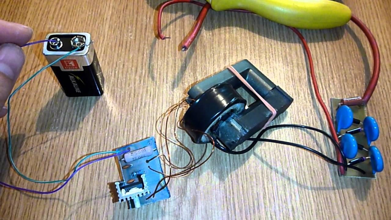 Wiring Diagram For 220v To 110v Converter 9v To 10kv Inverter Spark Igniter Stun Gun Etc Youtube