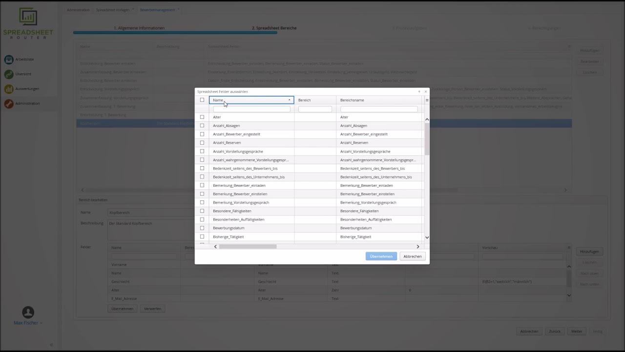 Youtube Video: Spreadsheet Router Tutorial: Default-Spalten der Übersichtsseite konfigurieren