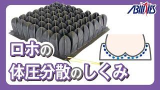 ロホクッションはエアセルを採用しています。高さが高く柔軟なゴムのセ...