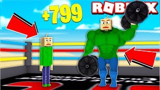 BALDI WAS SUPER STRONG IN ROBLOX!! (Lifting Simulator)