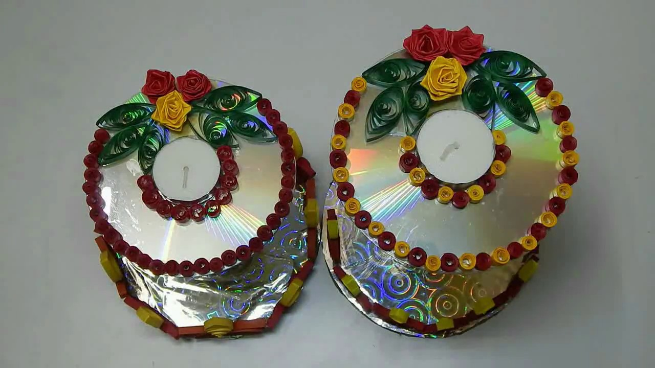 Cd decoration using paper quilling candle decoration for Decoration quilling