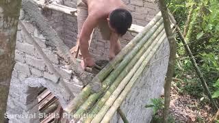 Primitive technology with survival skills Wilderness build house Roman part 8