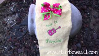 Rock On Guitar Applique Towel and Polka Dot Bow Set - video demo