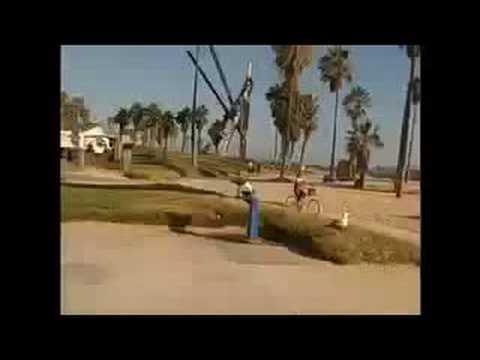 80 year old man skateboards in Venice