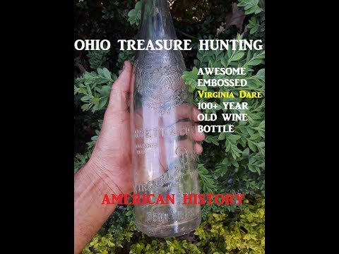 OHIO Treasure Hunting BIG Embossed Antique WINE Bottle Archaeology Discovery Channel