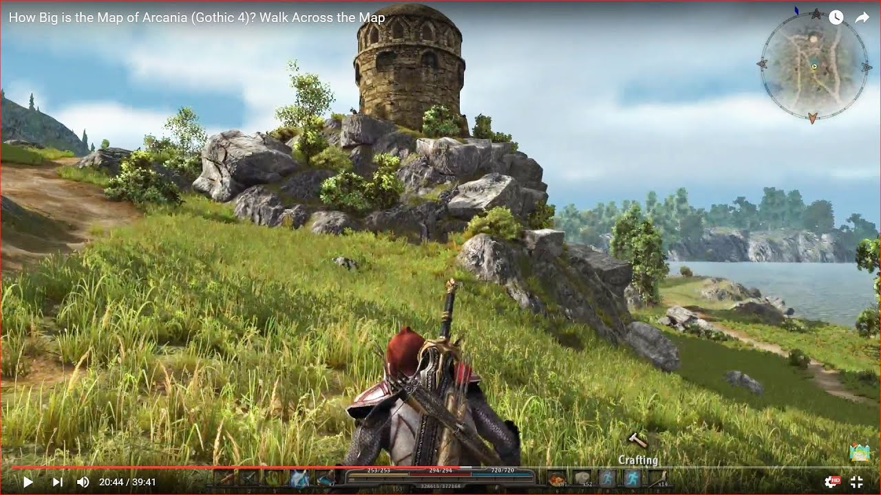 how big is the map in arcania gothic 4 walk across the map