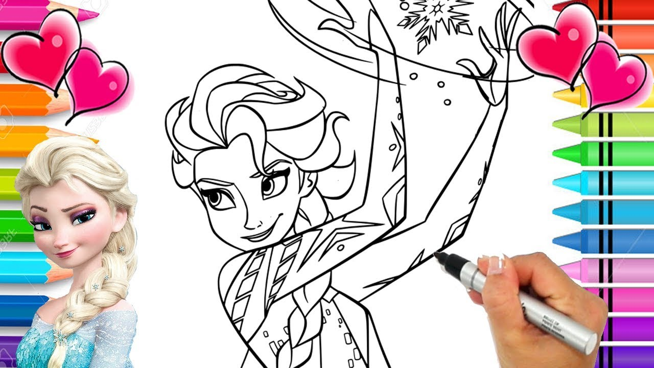 Disney S Frozen Elsa Coloring Page Frozen Coloring Book Elsa And Anna Glitter Coloring Pages Youtube