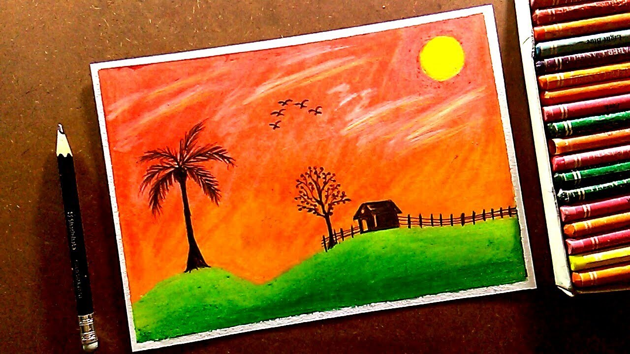 Early Morning At Village Scenery Drawing With Oil Pastel Step By Step Very Easy Tutorial Youtube Morning scenery in the village. early morning at village scenery drawing with oil pastel step by step very easy tutorial