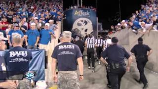 Fans throw things at referees after BYU Utah game