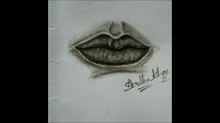How to draw lip with charcoal pencil easy step by step