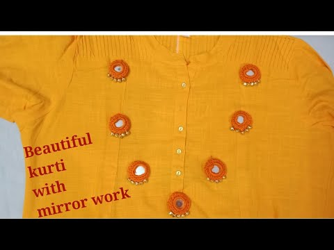 Hand embroidery Kurti with innovative mirror work with ghughru
