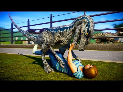 Jurassic World Evolution - Indoraptor vs Blue Breakout & Fight (Blue Fight Scene)