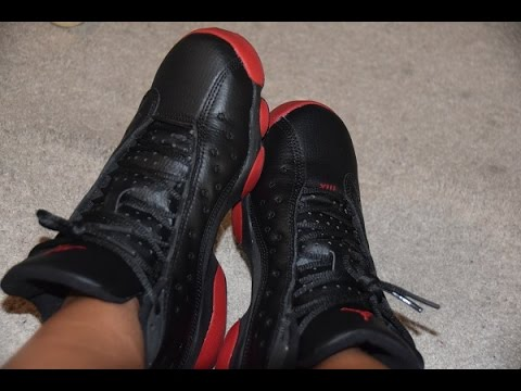 26189d01a05d20 On Feet  Jordan Retro 13 Dirty Bred   Squadron GS - YouTube