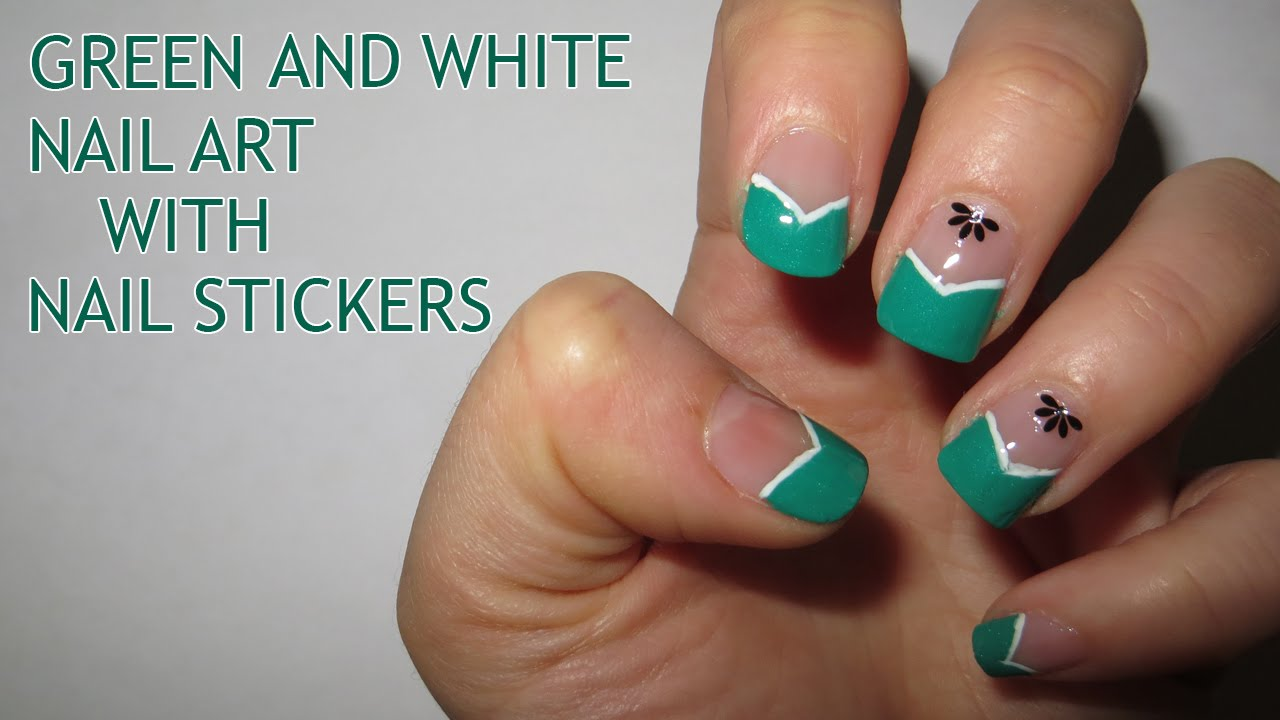 Green and white nail art with nail stickers youtube prinsesfo Gallery