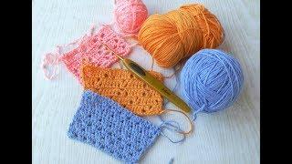 1. ТРИ ПРОСТЫХ УЗОРА КРЮЧКОМ ДЛЯ НАЧИНАЮЩИХ. Three simple crochet patterns.
