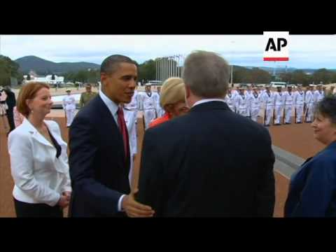 US President Obama arrives gun salute, visits parliament