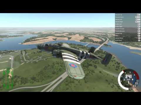BeamNG.drive - Tennessee USA Roane County (flying round map in the B25 Mitchell)