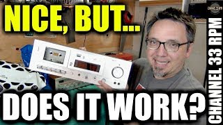 Testing a GORGEOUS thrift store cassette deck PLUS $1 tape finds and garage tour
