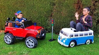 Funny Baby Paw Patrol write a ticket for traffic violation Ride On POWER WHEEL Jeep