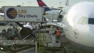 Lufthansa -Sky Chefs- LH445 loading cargo into Airbus A330 at Atlanta Airport