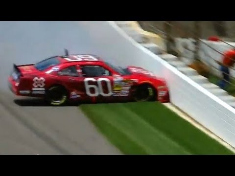 NASCAR Travis Pastrana hits the wall in qualifying | Indiana 250 (2013)