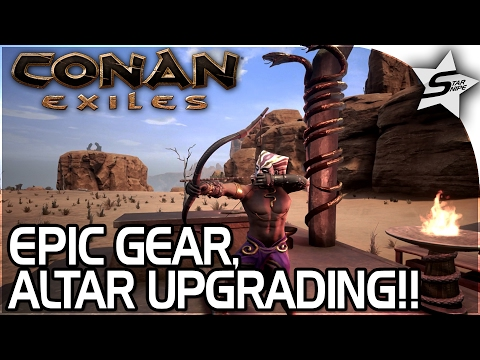 EPIC SET GOD ARMOR, UPGRADED ALTAR, AMAZING POISON SNAKE ARROWS!! - Conan Exiles Gameplay Part 14