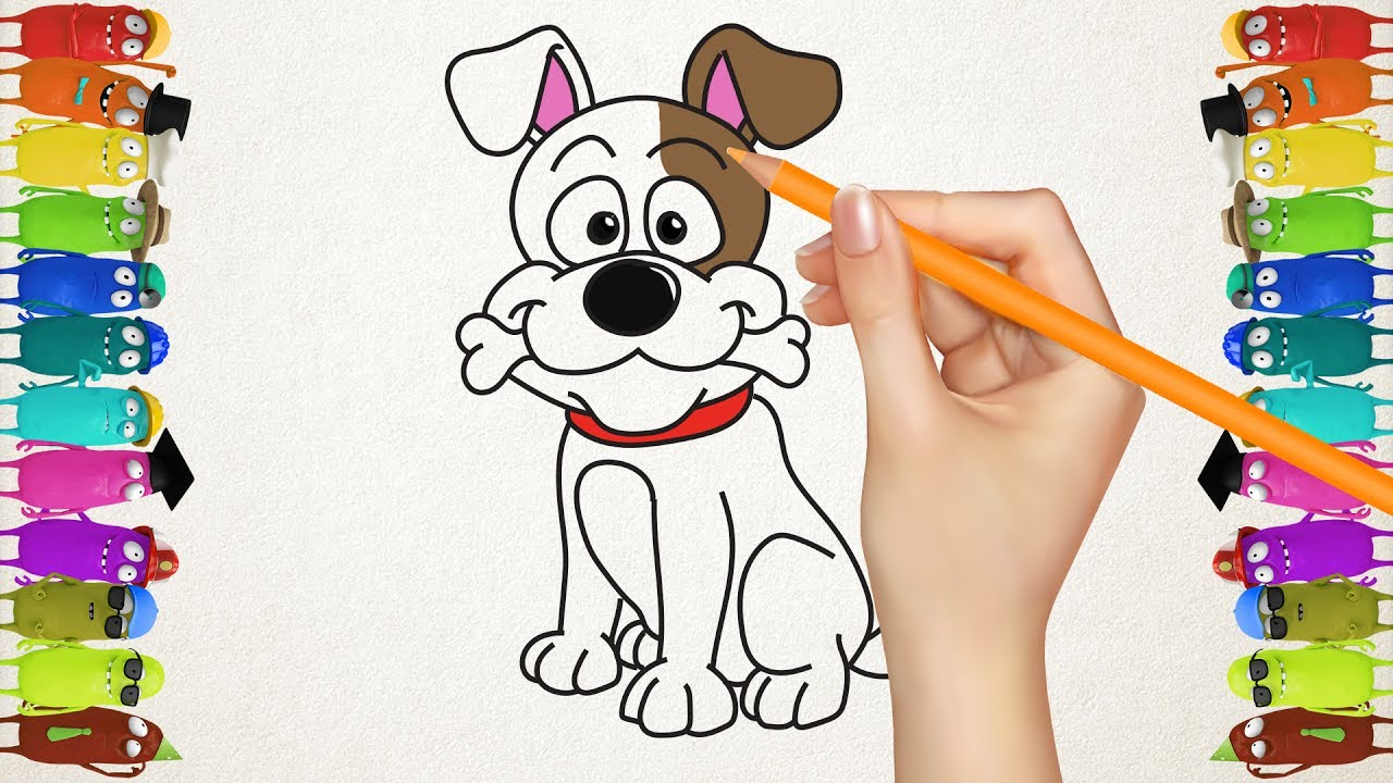 Drawing for Kids How to Draw a Dog Cat and Parrot Home