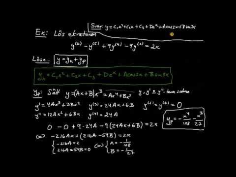 Differentialekvationer del 24 - linjär ekvation av högre ordning