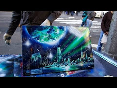 Amazing New York City Spray Paint Art In Time Square 2017