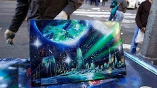 AMAZING New York City Spray Paint Art in Time Square 2014!!