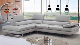 J&M Aurora 🛋 Sectional Sofa Left in Light Grey | Gray Sectional Couch