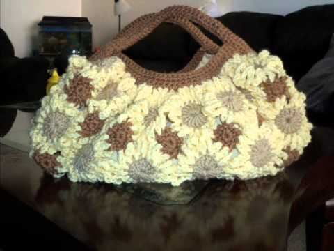 Crochet Bag Flower Purse Free Pattern Youtube