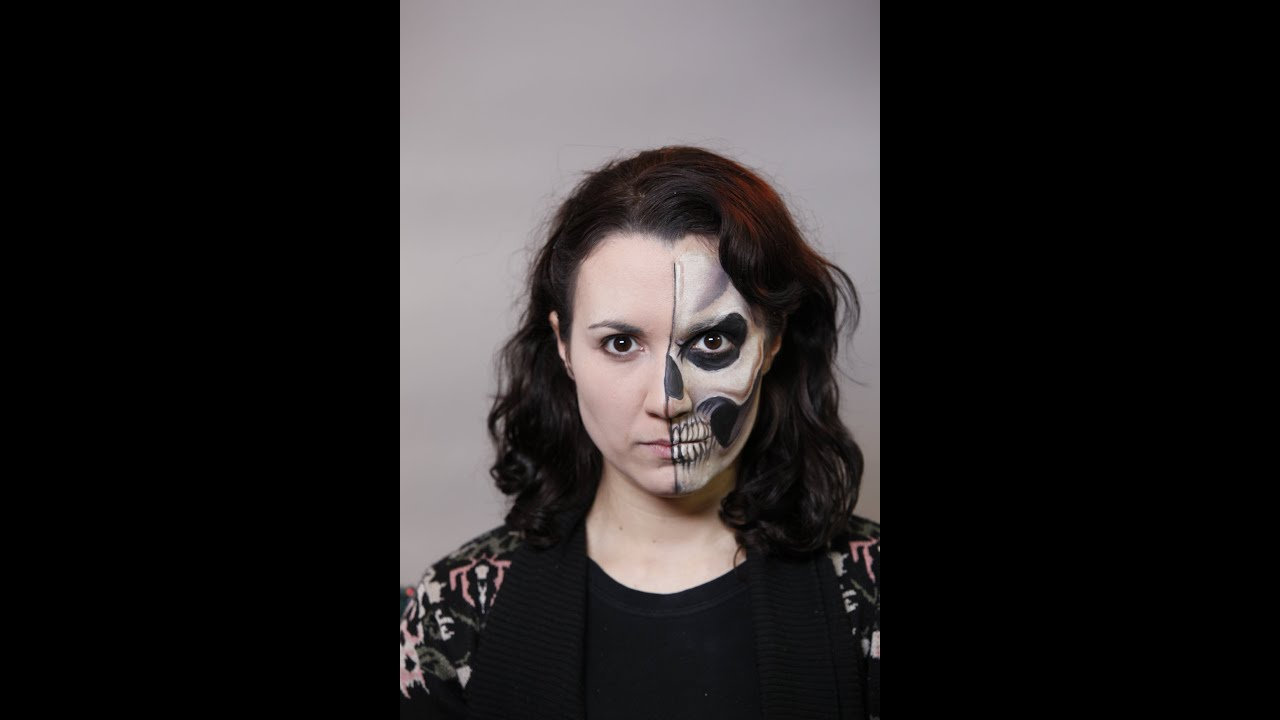how to create a half face skull face paint design facepaintcom youtube - Halloween Skull Painted Face